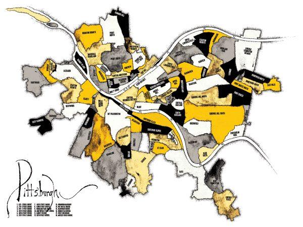 Pittsburgh Neighborhood Map - Black and Gold